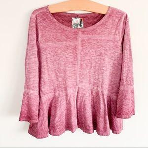 Anthropologie Bell Long Sleeve Shirt - Pink